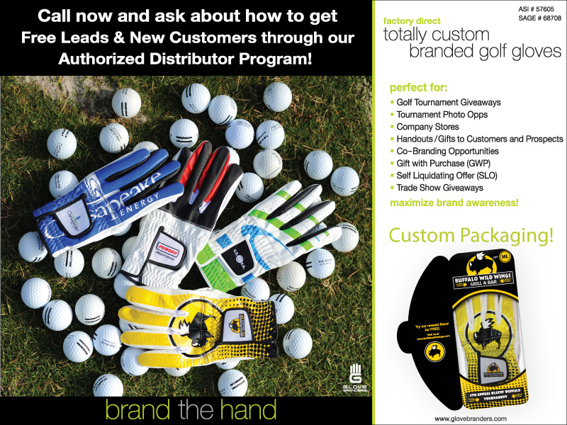 NEW !!!!  Totally Branded Golf Gloves